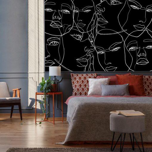 Tapeta z motywem line art do sypialni