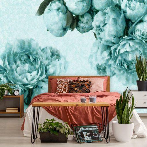 Foto-tapeta z turkusowymi kwiatami do sypialni