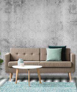 Szara tapeta do sypialni - Wzór marokański