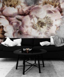 Botaniczna tapeta z kwiatami do salonu