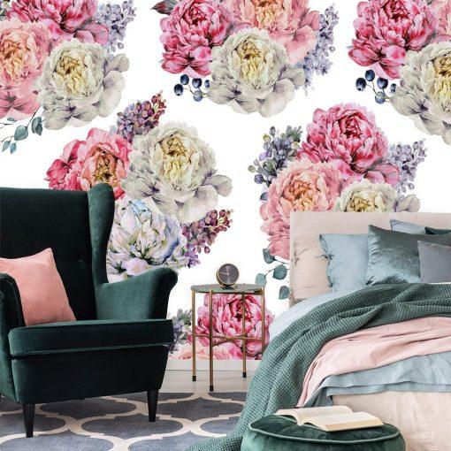 Tapeta w kwiatowy wzór do sypialni