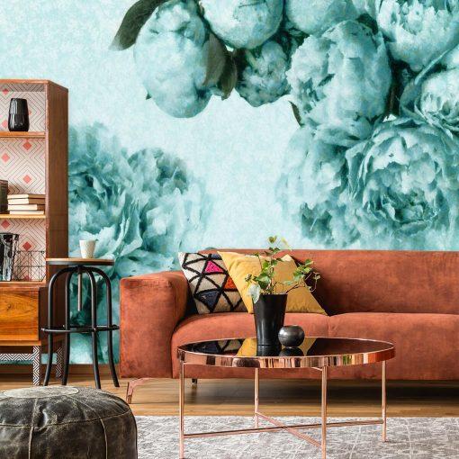 Foto-tapeta z turkusowymi kwiatami do pokoju