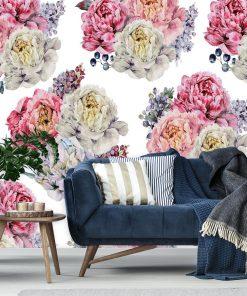 Tapeta w kwiatowy wzór do salonu