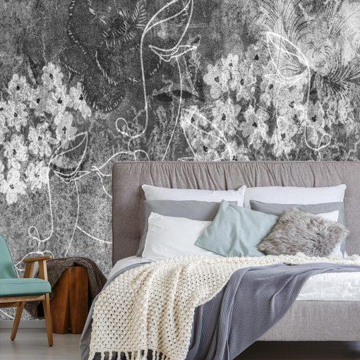 Szara fototapeta z motywem line art do sypialni