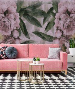 Tapeta w kwiaty do salonu