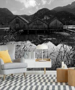 Fototapeta z drewnianymi domkami do pokoju
