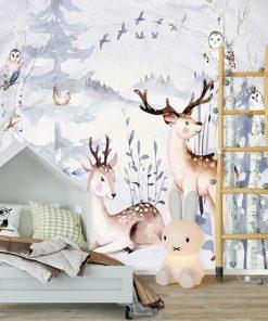 dekoracja dla dzieci- fototapeta las i zwierzaki