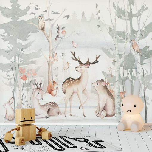 szary las i wesołe zwierzątka- fototapeta do pokoju dziecka