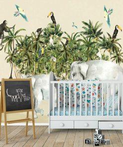 barwne papugi i zielone palmy na tapecie dla dziecka
