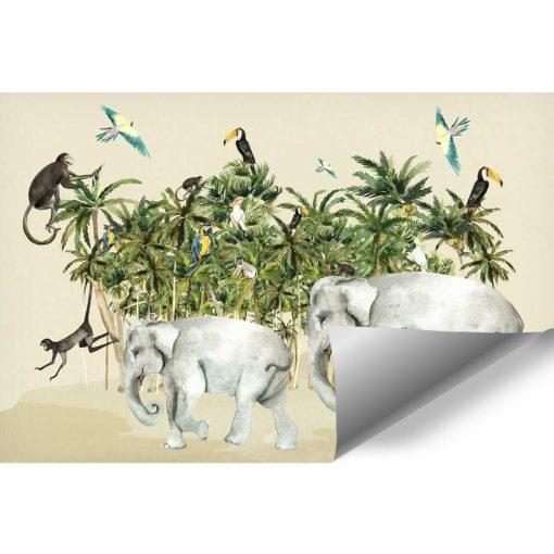 bajkowe małpki na zielonych palmach- fototapeta dla dzieci