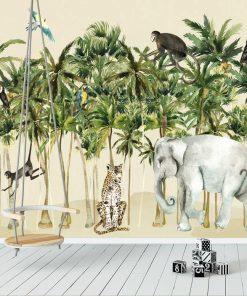 foto-tapety nad łóżeczko- zielona dżungla
