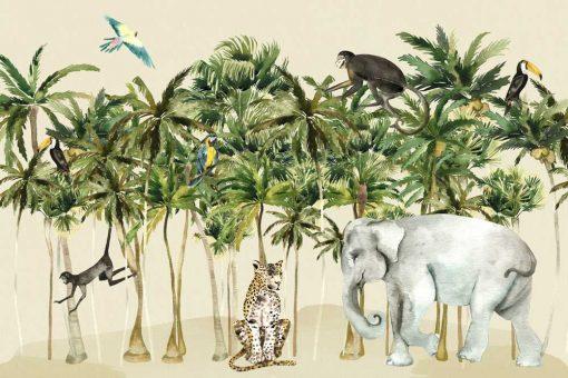 foto-tapeta dla dzieci ze słoniem i wesołymi małpkami