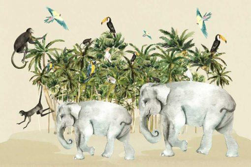 tapeta dla dzieci- zabawa w zielonej dżungli