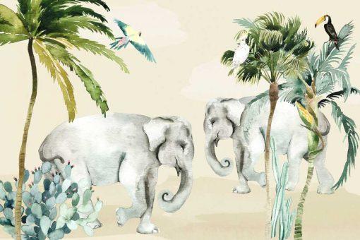 foto-tapeta nad łóżeczko - zielone tropiki