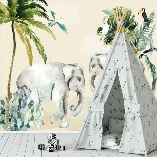 zielone palmy i szare słonie na dziecinnej fototapecie