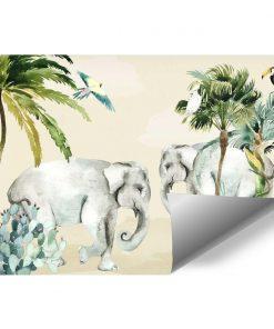 dekoracje do pokoju małej dziewczynki- fototapeta w słonie