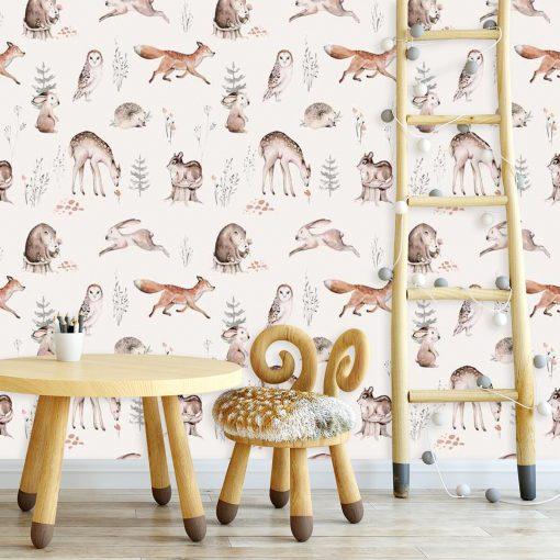 Foto-tapeta dla dziewczynki - Leśne zwierzęta