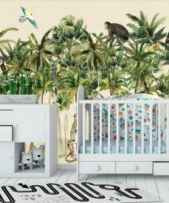 egzotyczne ptaki na kolorowej fototapecie do pokoju dziecinnego