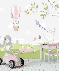 udekoruj pokój dziecka kolorowa fototapetą w króliczki