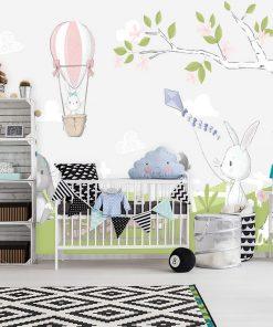 pastelowa fototapeta z króliczkami do dekoracji pokoju dziecinnego