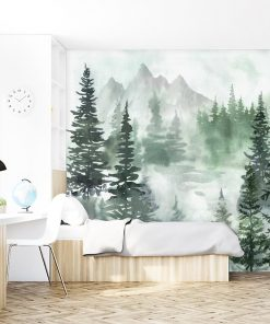 Zielona fototapeta z lasem dla nastolatków
