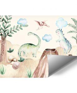 Kolorowe dinozaury - Fototapeta dla chłopca