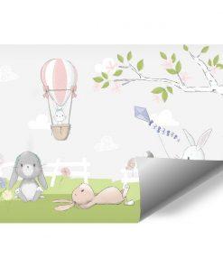 kolorowa fototapeta dziecięca z króliczkami i fioletowym latawcem