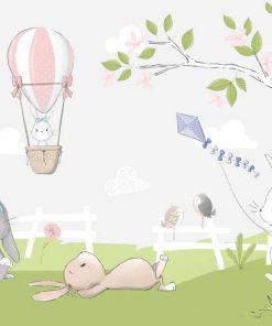 różowo-biały balonik i królik na dziecięcej fototapecie