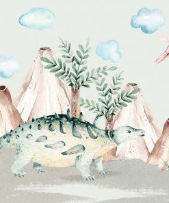 Bajkowe dinozaury na fototapecie do pokoju chłopięcego