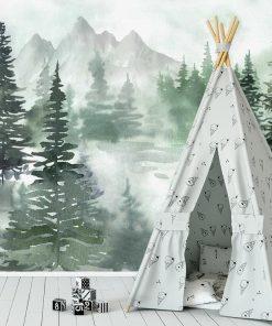 Zielona fototapeta z leśnym motywem dla dzieci