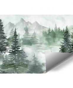 Zielona fototapeta z lasem do pokoju dziecięcego