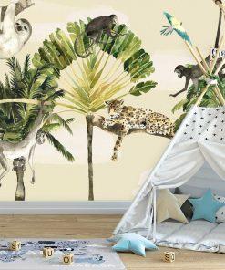 małpki i lampart na fototapecie do pokoju dziecka