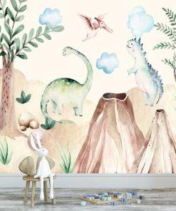 Dinozaury - Fototapeta nad łóżeczko dziecięce