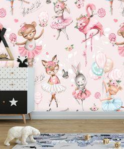 Różowa fototapeta do dziecięcego pokoju - Tańczące króliczki