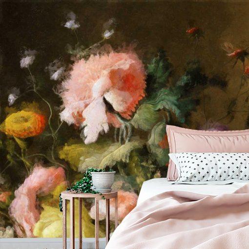 Barwna fototapeta z motywem barwnych kwiatów do dekoracji jadalni