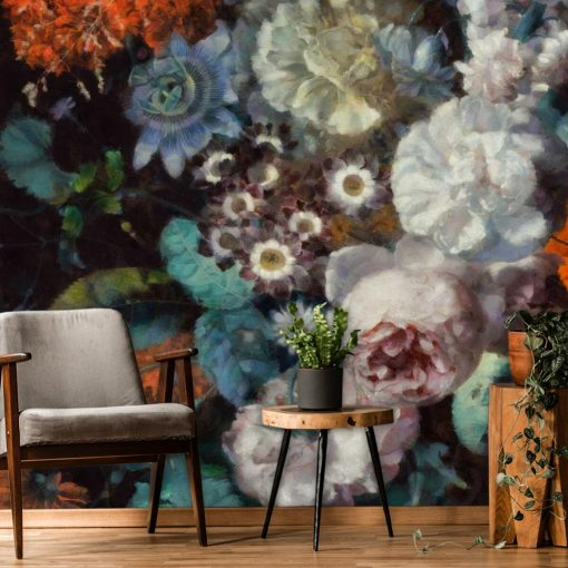 Pastelowa fototapeta - Jesienne kwiaty do kuchni
