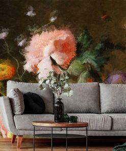 Barwna fototapeta z motywem barwnych kwiatów do dekoracji salonu
