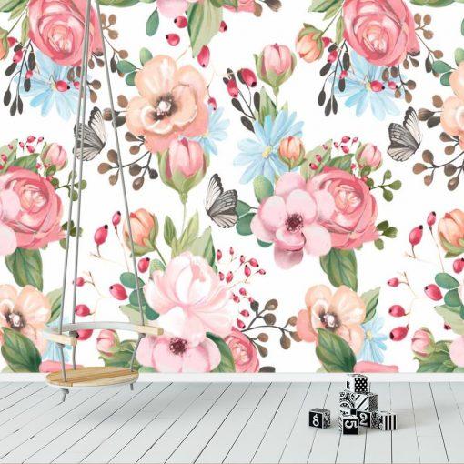 Kwiatki i motyle - Fototapeta dla nastolatki