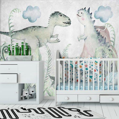 Foto-tapeta z dwoma dinozaurami dla dzieci