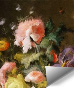 Barwna fototapeta z motywem barwnych kwiatów do dekoracji gabinetu
