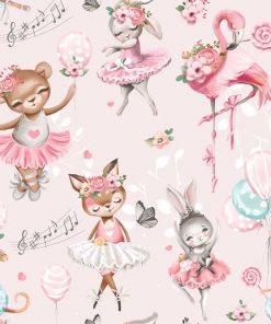 Różowa fototapeta dla dzieci - Zajączki