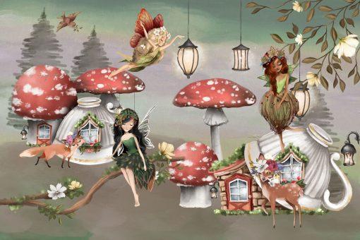 Domki z muchomorów - fototapeta dla dzieci