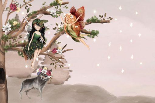 Elfie drzewko i wilk - fototapeta dla dzieci