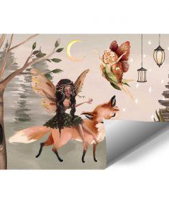 Leśna foto-tapeta dziecięca z latającą wróżką