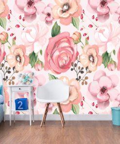 Dziewczęca fototapeta z różowymi kwiatami