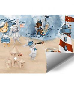 Miś Kapitan na pastelowej Plaży - fototapeta dla dzieci