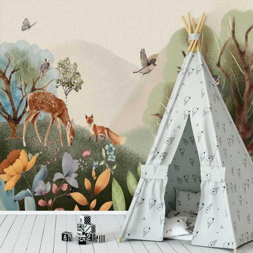 Las pełen zwierząt - fototapeta dla dzieci