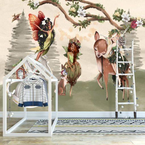 Sarna i króliczek w wiosce elfów - fototapeta dla dzieci