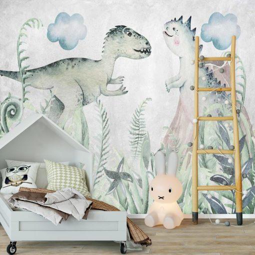 Foto-tapeta z dwoma dinozaurami dla chłopca