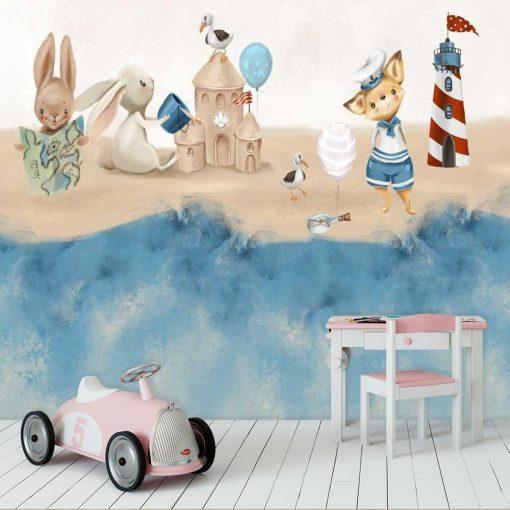 Króliczki na bajkowej plaży - fototapeta